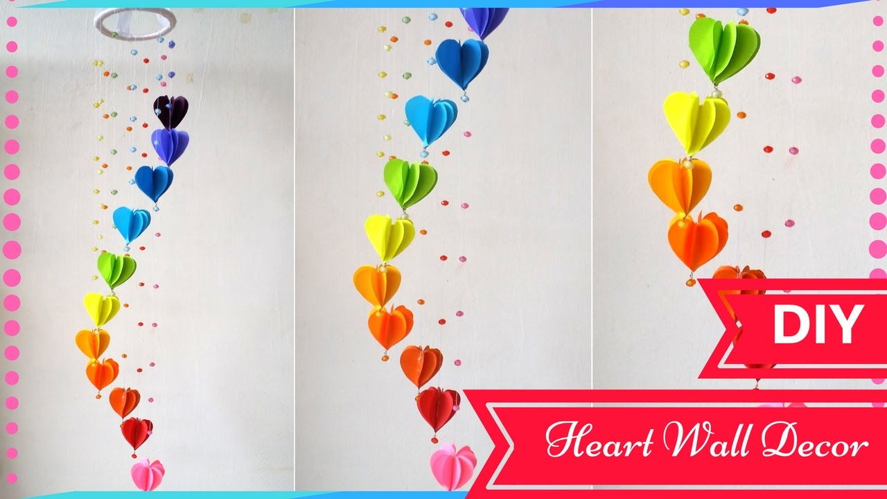 Room Wall Decoration With Waste Material : Diy wall decor ideas for valentines day heart decors in