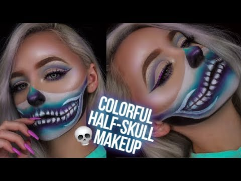 COLORFUL HALF SKULL MAKEUP TUTORIAL   Mcdrew - YouTube