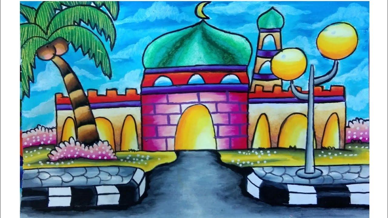 Menggambar Gambar Masjid Mewarnai Nusagates