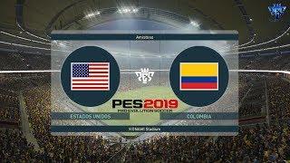 PES 2019   Estados Unidos vs Colombia   Partido Amistoso   Gameplay PC