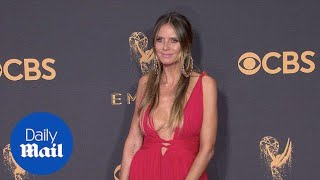 Radiant in red! Heidi Klum commands 2017 Emmys red carpet - Daily Mail
