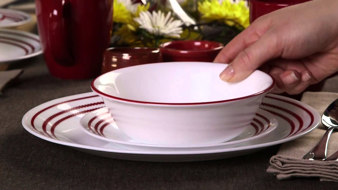 Corelle   Ruby Red 16 Piece Dinnerware Set   YouTube