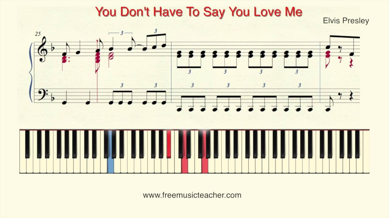 How To Play Piano Elvis Presley You Dont Have To Say You Love Me