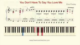 "How To Play Piano: Elvis Presley ""You Don't Have To Say You Love Me"" Piano Tutorial by Ramin Yousefi"