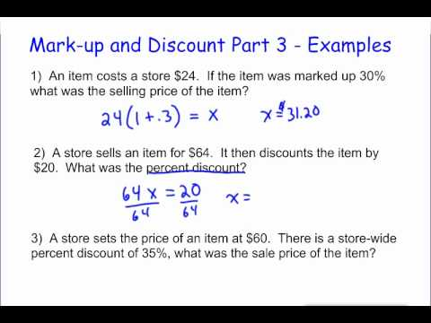 Markup And Discount Part 3 Examples Youtube