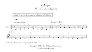 Violin : G Major Scale & Arpeggio for beginners