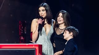 Dua Lipa reacts to winning two BRITs | The BRIT Awards 2018