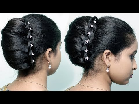 New Party Wear Bun Hairstyles   French Bun/French Roll/French Twist Updo   Cute hair style girl