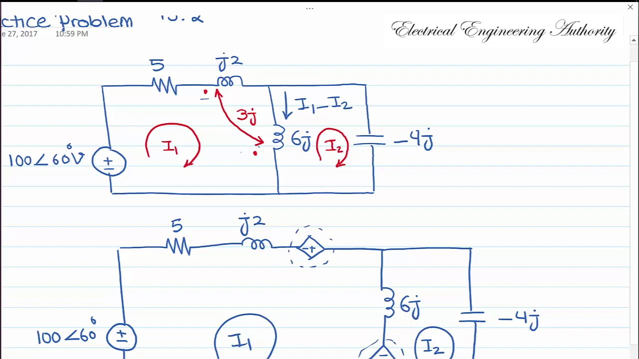 Magnetically Coupled Circuit Example Youtube Diagram Numericals