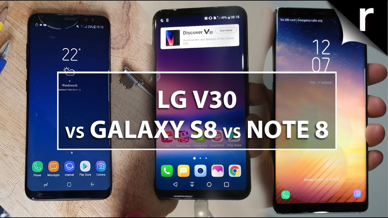 LG V30, Samsung Galaxy S8 and Samsung Galaxy Note 8 - Comparison
