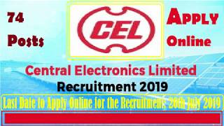 CEL Recruitment 2019 Apply Online for 74 Managers Posts