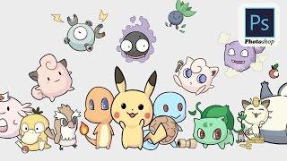 Pokemon Go : How to Draw Pokemon in photoshop / 如何画精灵宝可梦(pokemon)