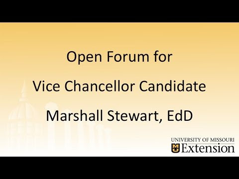 University of Missouri Extension, Vice Chancellor Candidate, Marshall Stewart, EdD
