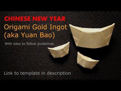 ORIGAMI Gold Ingot/Yuan Bao (Easy) w/ Easy to Follow Guidelines