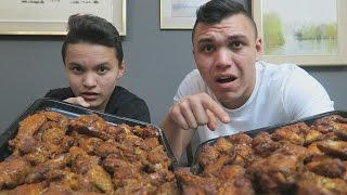 100 HOT WINGS IN 10 MINUTES CHALLENGE!!