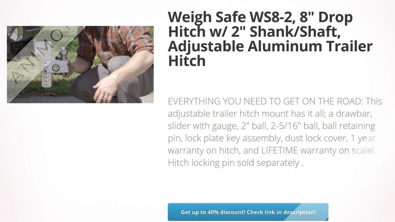 Weigh Safe WS8-2 Adjustable Aluminum Trailer Hitch & Ball Mount w ...
