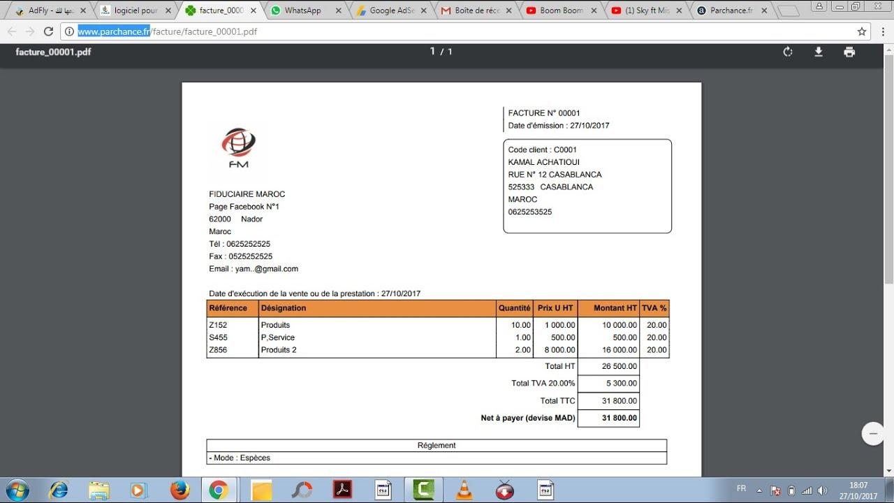 logiciel gratuit pour g rer les factures et devis et bon de commande au maroc youtube. Black Bedroom Furniture Sets. Home Design Ideas