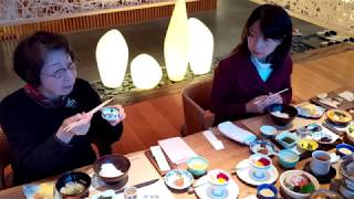 Yamanaka Onsen, Ishikawa, Japan - Breakfast at Hanamurasaki Ryokan (花紫) 2018 Dec. 29