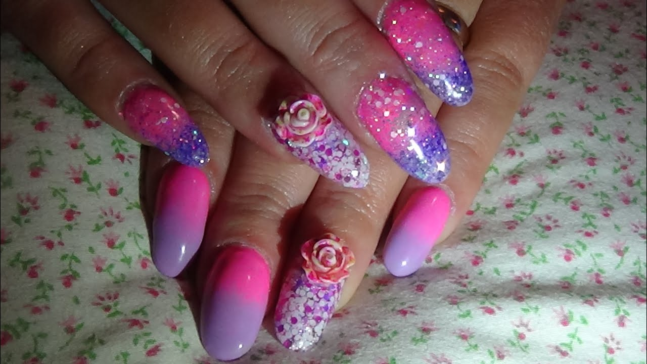 plain ombre gel nails v glitter ombre nails (acrylic nails ...