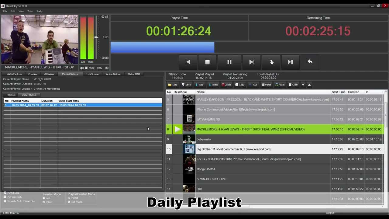 Xeus Playout ( Broadcast Automation Software ) SD / HD / 2K / 4K / 3D / IP