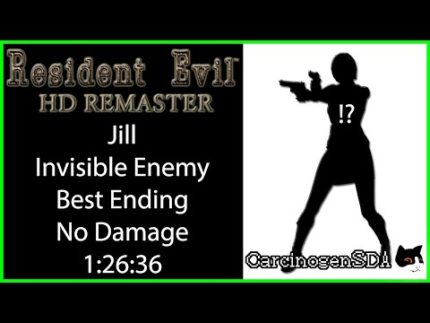 [Commentated] Resident Evil HD Remaster (PC) Invisible Enemy No Damage No Save - Jill Best Ending