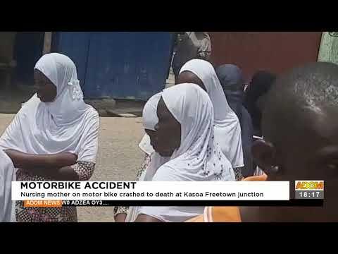 Nursing mother on a motorbike crashed at Kasoa Freetown junction - Adom TV News (17-9-21)