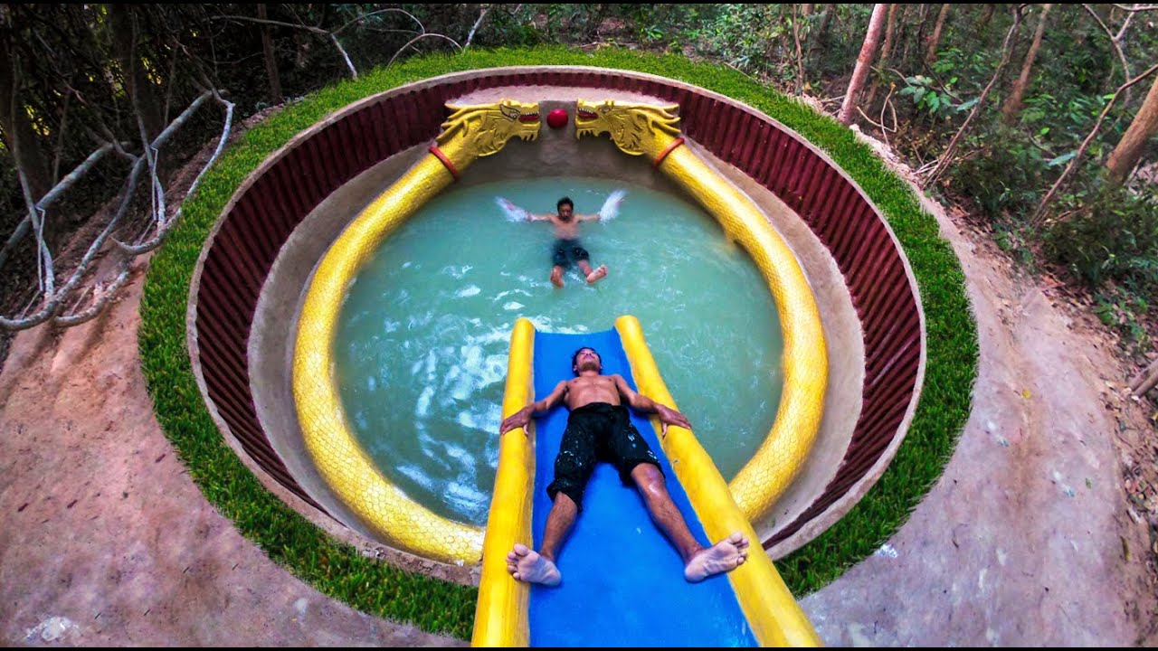 25 Days Building The Most Amazing Underground Water Slide To Temple Dragon Pool