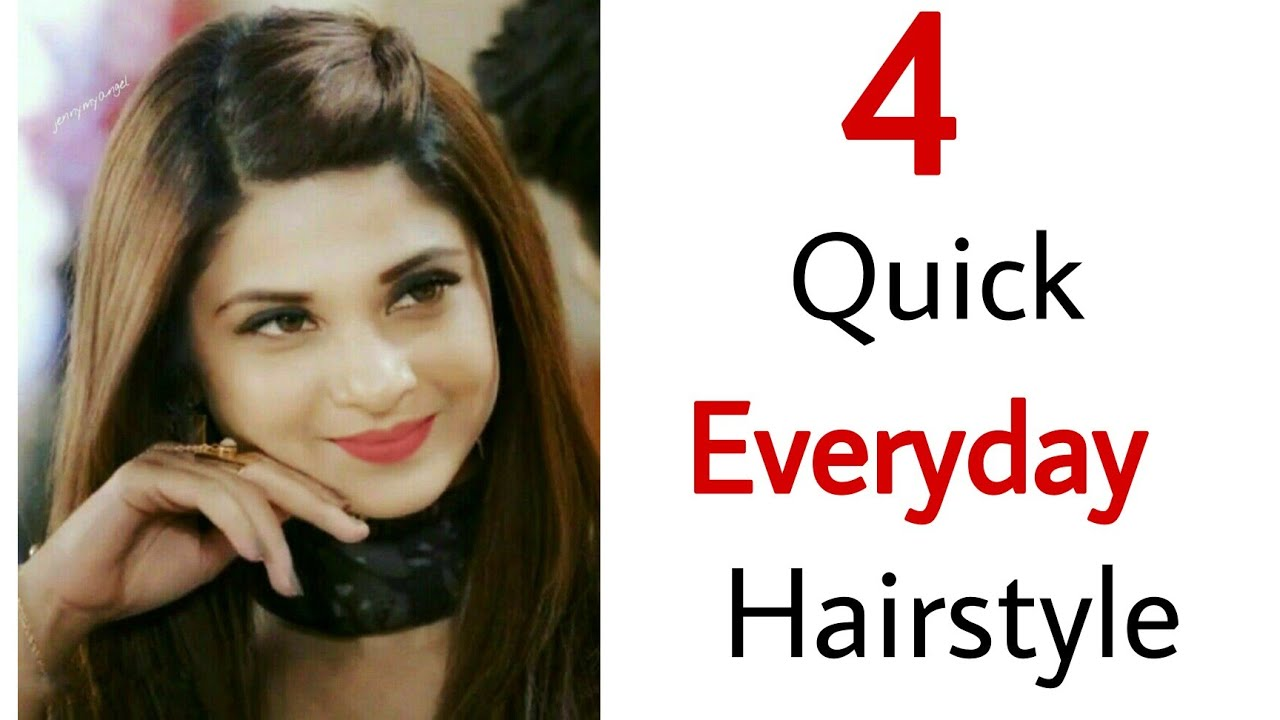 4 Quick & Easy beautiful everyday hairstyles - Pretty hairstyles   open hairstyles   Easy hairstyles