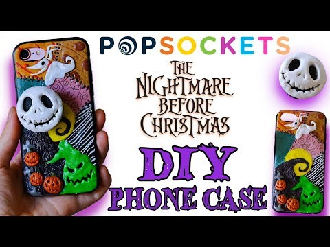 DIY Nightmare Before Christmas Phone Case - Polymer Clay with Popsocket