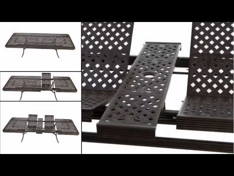 Extending 12 Seater Cast Metal Outdoor Furniture Set with seat pads