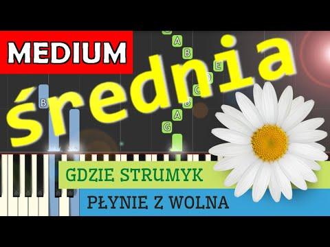 🎹 Gdzie strumyk płynie z wolna (Stoktrotka) - Piano Tutorial (średnia wersja) 🎹