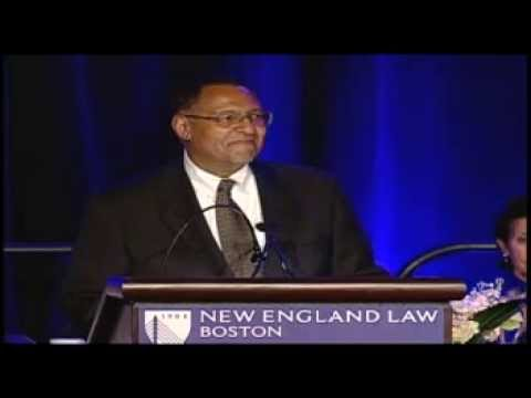 Massachusetts Chief Justice Roderick Ireland congratulates New England Law | Boston students