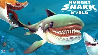 Hungry Shark World -  Great White Shark Vs Sand Shark!