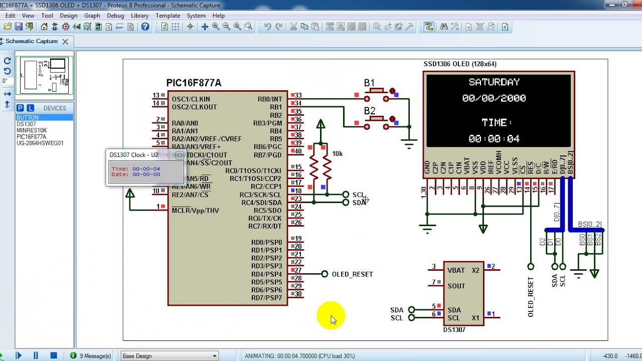 Real time clock with PIC16F877A, DS1307 and SSD1306 OLED