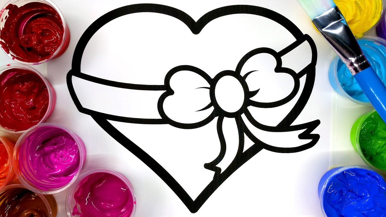 coloring pretty heart painting page children can learn to color