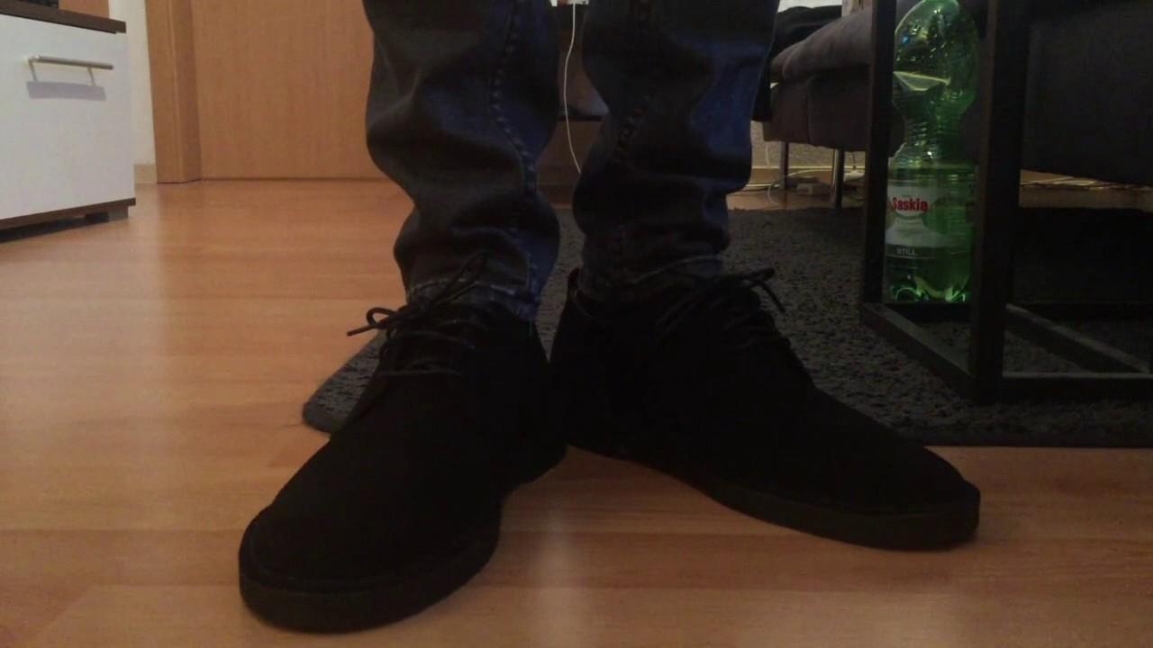 312992e9606 Clarks Desert London Black - On Feet - YouTube