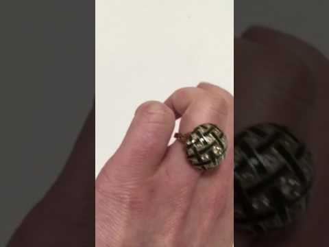 Vintage Antique Dome 14K Old European Cut Diamond + Enamel Ring Video