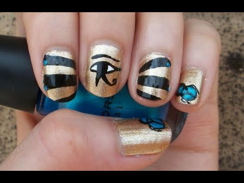 Egyptian Inspired Nail Art Design - Egyptian Inspired Nail Art Design - YouTube
