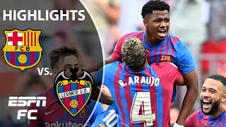 Ansu Fati SCORES as he returns from injury as Barcelona smash Levante in LaLiga | ESPN FC