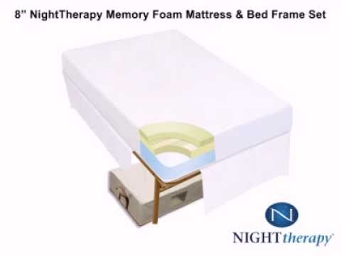 night therapy 8 memory foam mattress bed frame set