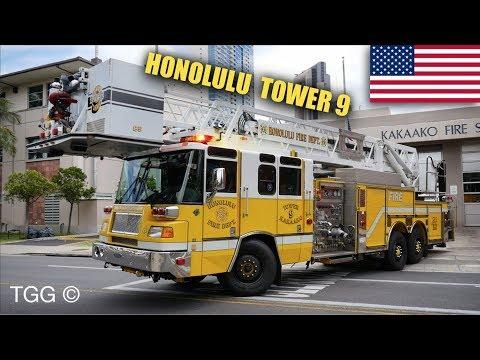 [Hawaii] Honolulu Fire Dept. TOWER 9 + Ambulance Responding (FIRST CATCH!)