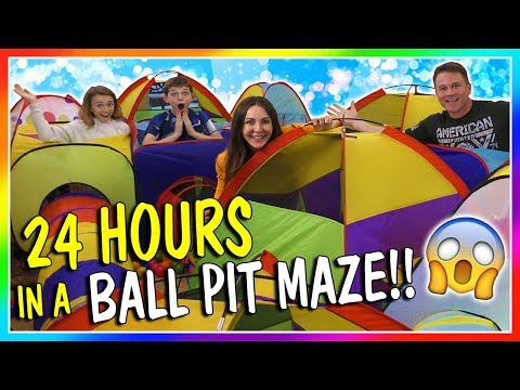 24 HOURS IN A BALL PIT MAZE | We Are The Davises