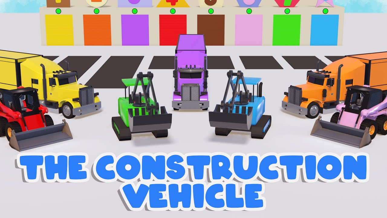 Coloring The Construction Vehicles Truck, Bulldozer, Excavator For Kids