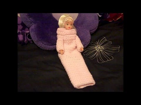 Crochet Fashion Doll Snuggle Up with Sleeves - How to Crochet a Doll Snuggy - Red Heart Yarn Pattern