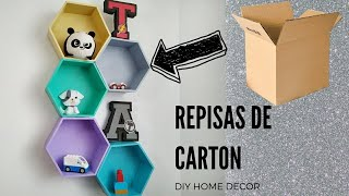 COMO HACER REPISAS - ESTANTERIAS CON CARTON - DIY DECOR - CARDBOARD CRAFTS