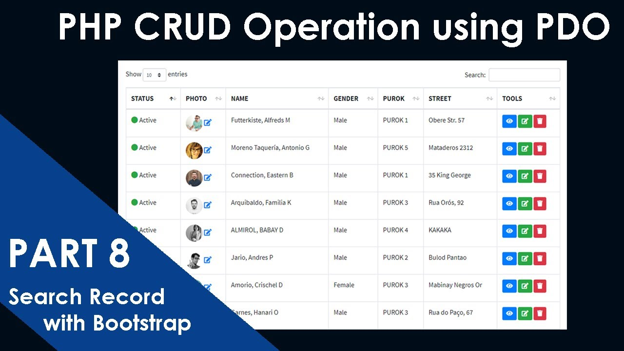 PART-8- PHP CRUD Operation using PDO Extension | How to Search record with Bootstrap DataTables