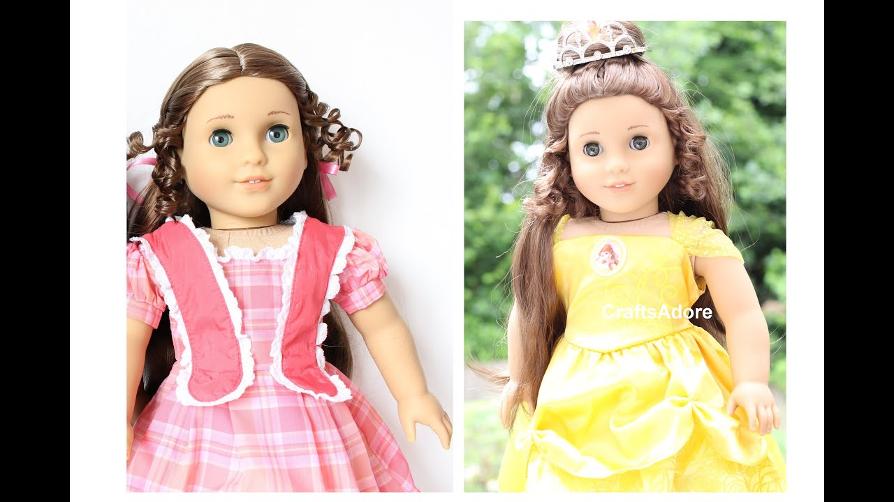 American Girl Doll Makeover MarieGrace As Belle Disney Princess - Doll hairstyles for grace