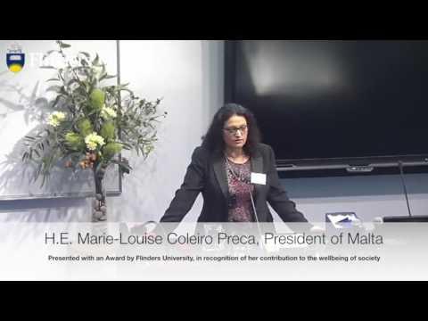 Presentation of an award to H.E. Marie-Louise Coleiro Preca,