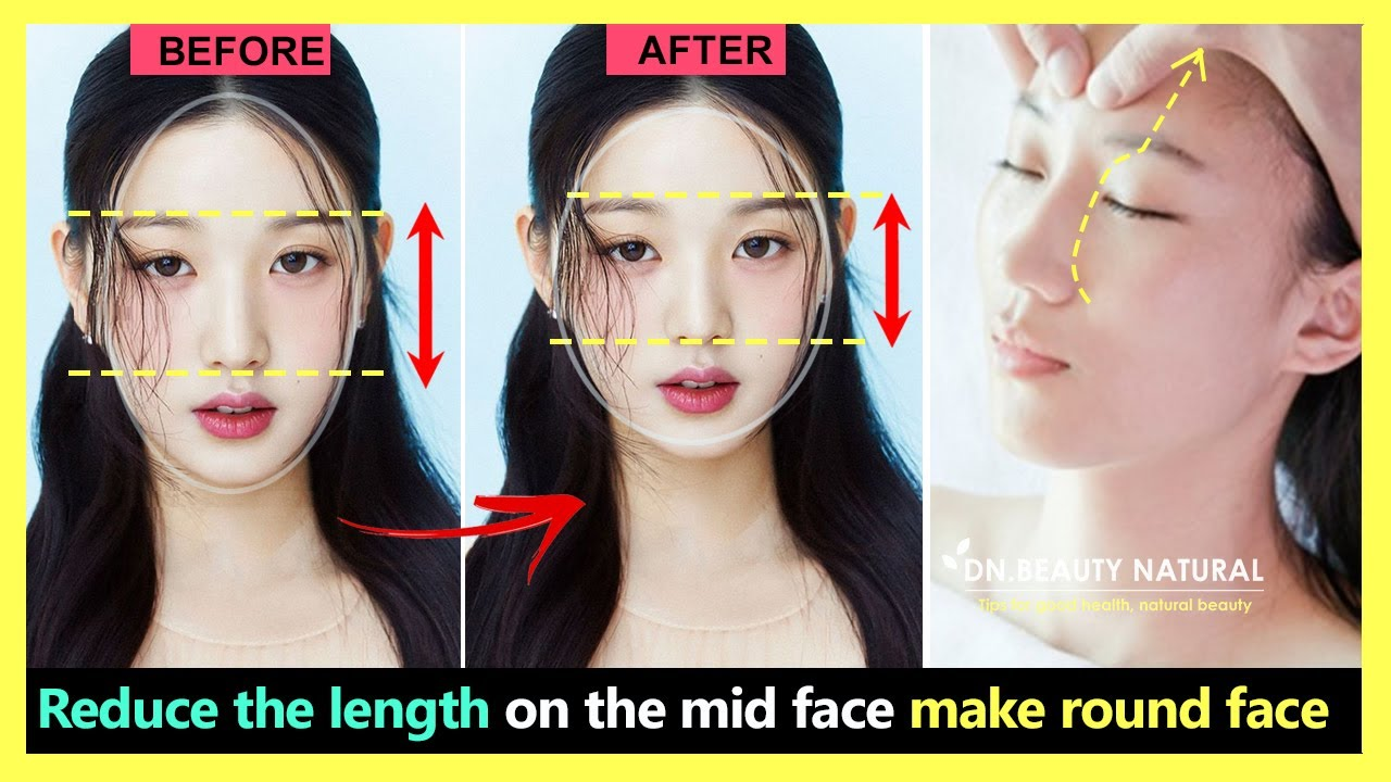 3 steps!! How to shorten your mid face, Reduce face length, Make your face rounder and younger.