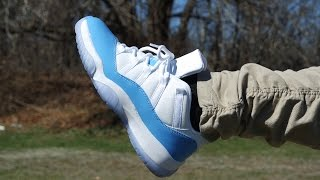 cfbce99b5345 2017 AIR JORDAN 11 LOW UNC UNIVERSITY BLUE REVIEW   ON FEET! - YouTube